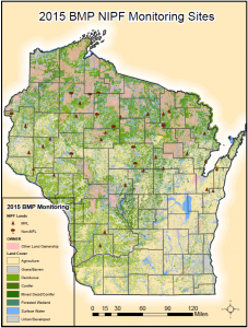 Map of 2015 BMP Monitoring Sites on private, nonindustrial forestland in Wisconsin