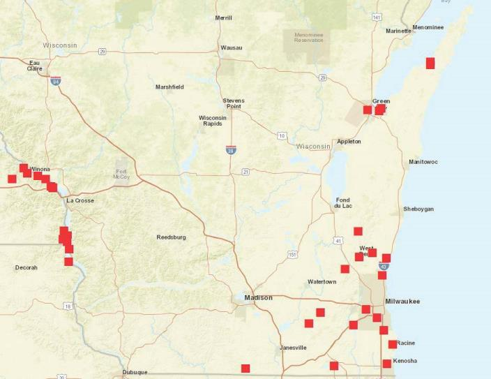 Locations in Wisconsin where EAB parasitoids have been released 2011-2016. Map created by Bill McNee.