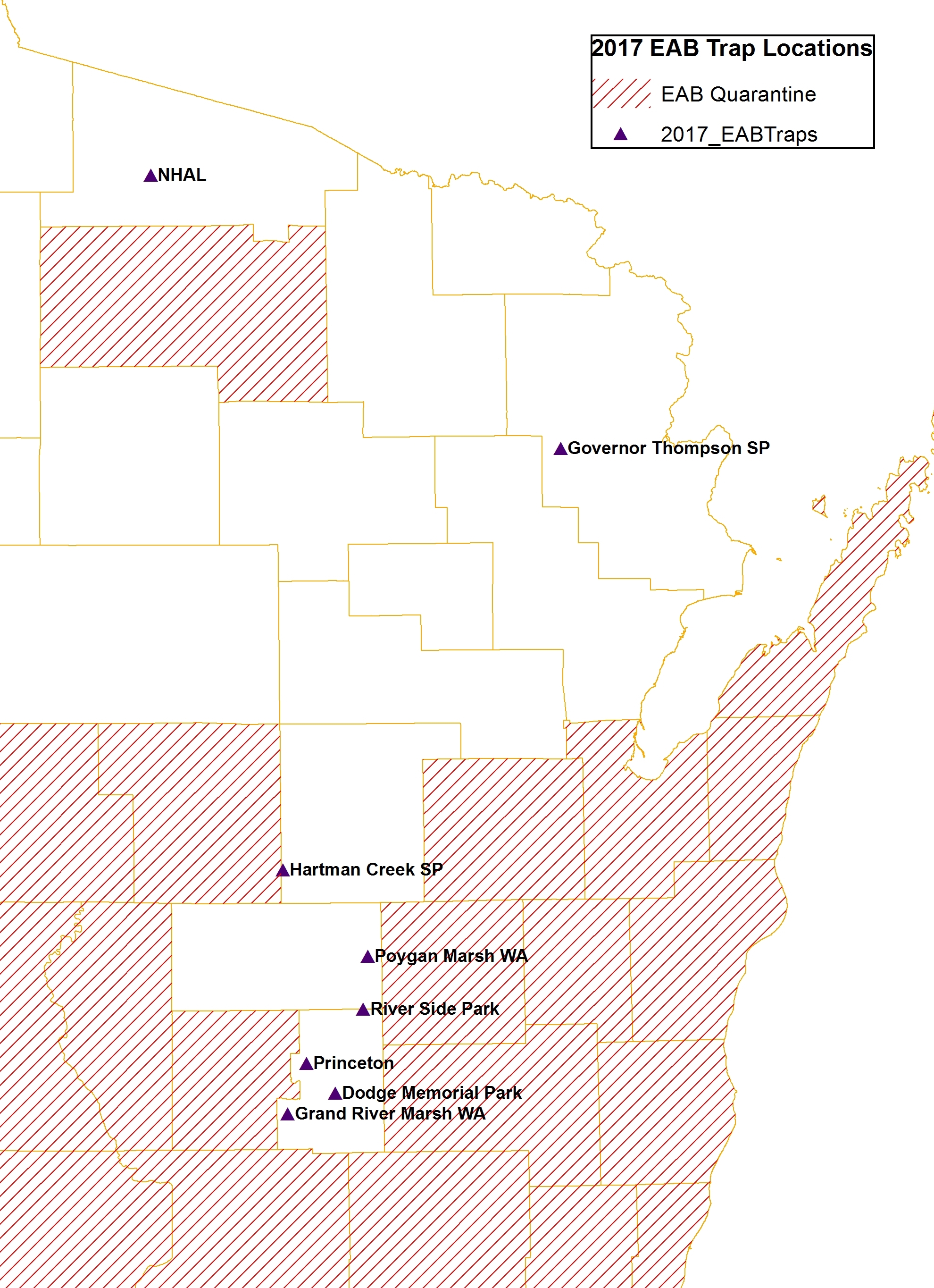 Emerald ash borer traps will be placed at 8 locations in northwest Wisconsin in 2017: Northern Highlands American Legion State Forest, Governor Thompson State Park, Hartman Creek State Park, Poygan Marsh Wildlife Area, River Side Park, Princeton, Dodge Memorial Park, and Grand River Marsh Wildlife Area.