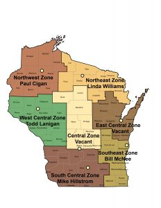 Map of forest health program coverage areas and staff assigned to them.