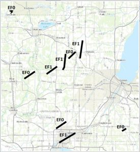 This National Weather Service map shows the tornado tracks in Brown, Outagamie, and Shawano counties, from the June 14 storms.