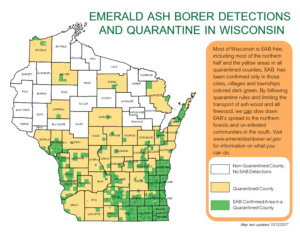 Wisconsin counties quarantined for EAB (WI DATCP)