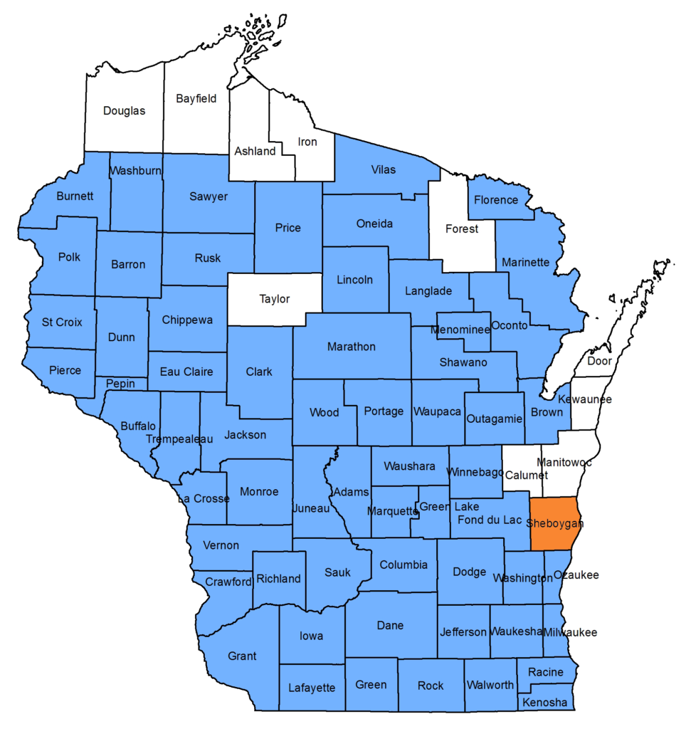 Map of counties where oak wilt has been detected, with the recent Sheboygan County confirmation shown in orange.