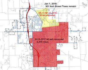 West Bend EAB map