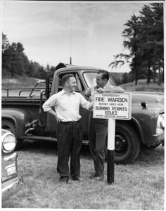 Photo of an Emergency Fire Warden that was taken near Park Falls, WI in 1955