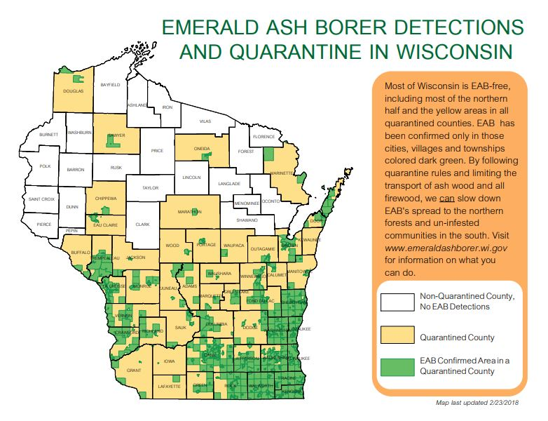 ounties shaded in tan are quarantined for EAB; this includes much of the southern half of  Wisconsin as well as other counties. Areas shaded in green represent the townships and municipalities where EAB has actually been identified, and show that not all counties that are quarantined are fully infested.
