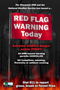 Extreme wildfire dnager exists today! Red Flag Warning