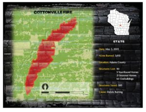 Map of the Cottonville Fire in 2005