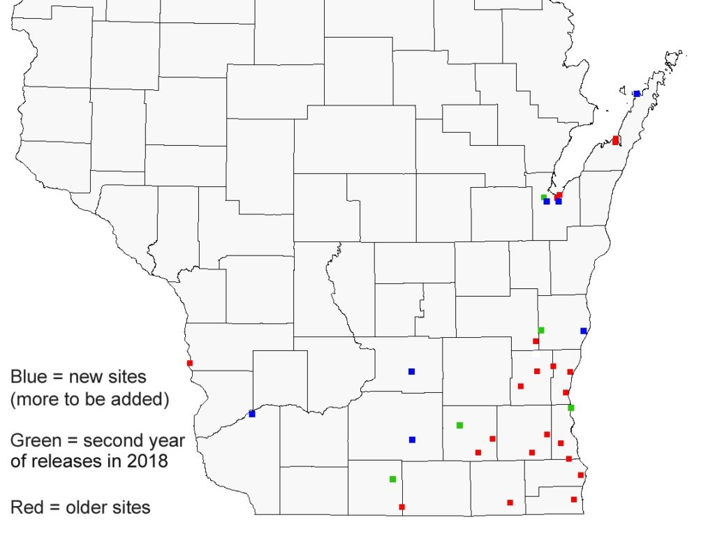 Map showing the numerous biocontrol sites for emerald ash borer established in southern and eastern Wisconsin since 2011.