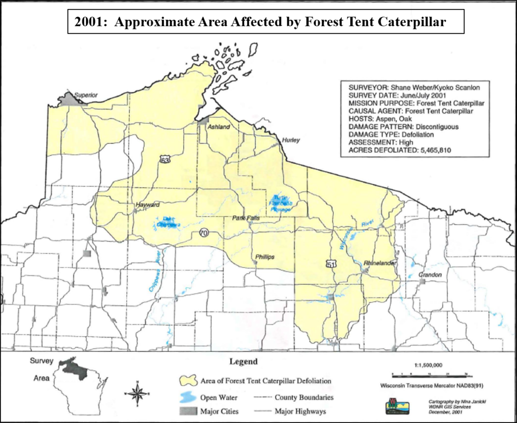 Areas in northern Wisconsin with forest tent caterpillar defoliation during the peak year of most recent regionwide outbreak, from 1999 – 2002