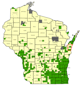 Communities known to have emerald ash borer as of September 2018 are shown in green, with Kewaunee County highlighted in red. Modified from a map by the Wisconsin Dept. of Agriculture, Trade and Consumer Protection (DATCP).