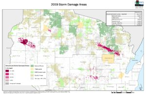 Map of damage assessment across land ownership types. From 2019 storms in northern Wisconsin.