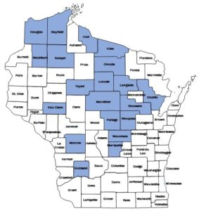 A distribution map of counties in Wisconsin where counties in blue have reports of rapid balsam fire mortality.
