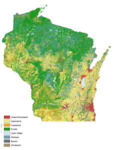 Map showing land cover in Wisconsin
